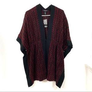 NWT WHBM Red & Black Ruana Wrap Sweater Small